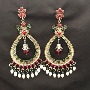 Red & Green Jeweled Enamel Chandelier Earrings